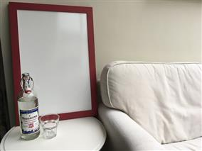 'Rectory Red' Large Whiteboard w. Modern Frame
