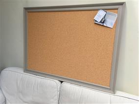 'Charleston Gray' Giant Cork Pin Board w. Traditional Frame