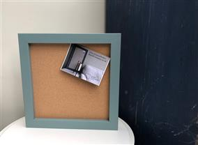 'Oval Room Blue' Small Cork Pin Board w. Square Frame