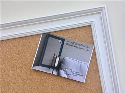 'All White' Giant Cork Pin Board w. Traditional Frame