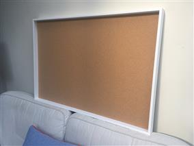 'All White' Giant Cork Pin Board w. Box Frame