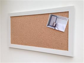 'All White' Large Cork Pin Board w. Modern Frame