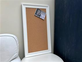 'All White' Large Cork Pin Board w. Traditional Frame