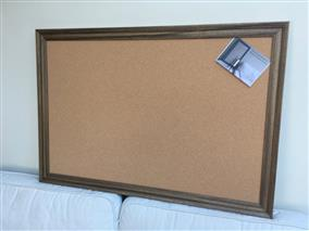 Wood Stain Giant Cork Pin Board w. Traditional Frame