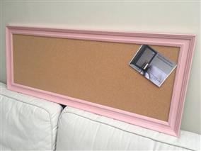 'Nancy's Blushes' Long Cork Pin Board w. Traditional Frame
