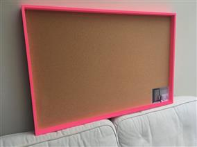 Neon Pink Giant Cork Pin Board w. Box Frame