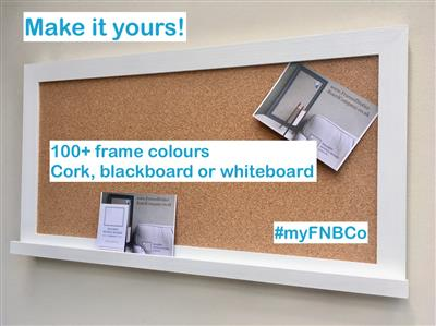 'All White' Large Cork Pin Board w. Modern Frame & Shelf