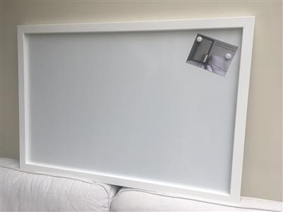 'All White' Giant Magnetic Whiteboard w. Square Frame