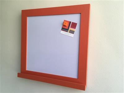 Ready To Ship - Small Magnetic Whiteboard w. Orange Frame & Shelf