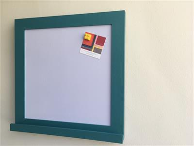Ready To Ship - Small Magnetic Whiteboard w. Teal Frame & Shelf