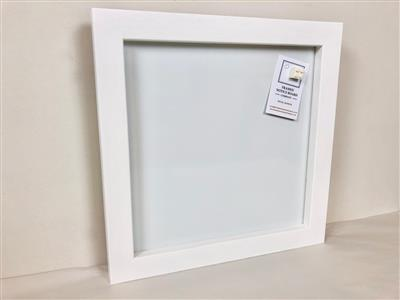 'All White' Small Magnetic Whiteboard w. Square Frame