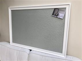 'All White' Giant Pin Board w. Grey Pin Board & Traditional Frame
