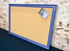 Ready To Ship - Giant Cork Pin Board w. Blue Frame