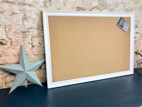 'All White' Giant Pin Board w. Sundeala 'Wheat' & Traditional Frame