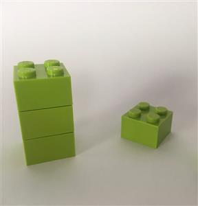 5 LEGO Brick Magnets - Lime Green