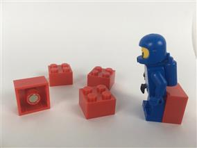 5 LEGO Brick Magnets - Red
