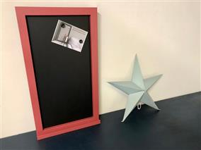 'Incarnadine' Large Magnetic Blackboard w. Square Frame & Shelf