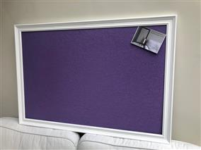'All White' Giant Pin Board w. Sundeala Board 'Purple' & Traditional Frame