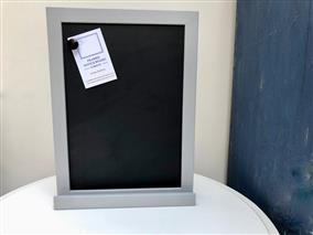 'Manor House Gray' Small Magnetic Blackboard w. Slim Frame & Shelf