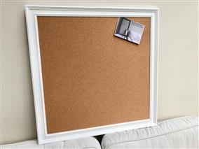'All White' Extra Large Cork Pin Board w. Traditional Frame