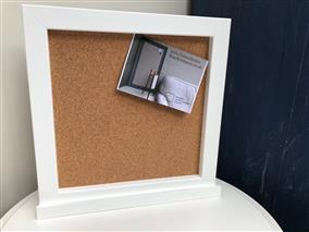 25% OFF! - Ready To Ship - Small Cork Pin Board w. White Frame & Shelf