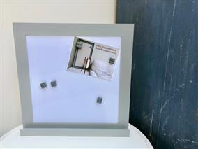 'Plummett' Small Magnetic Whiteboard w. Modern Frame & Shelf
