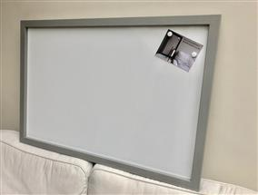 'Manor House Gray' Giant Magnetic Whiteboard w. Square Frame