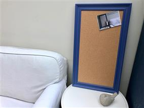 'Pitch Blue' Large Cork Pin Board w. Traditional Frame